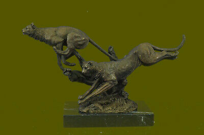Hand Made Running Cheetah by Henry Moore Bronze Sculpture Marble Base Figure UG