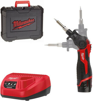 Milwaukee M12 SI-201C battery soldering irons with 1 x 2,0 Ah in case (400 °C)