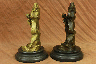 Hand Made Decor ARMOR BRONZE GARDEN SCULPTURE STATUE NUDE LADY BUST BOOKENDS UG