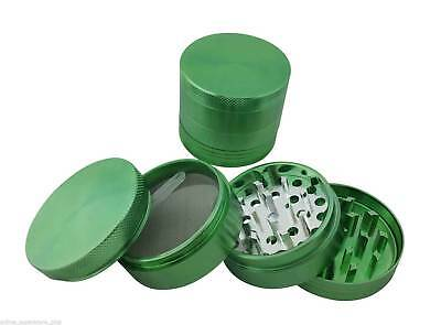 "2.0"" Magnetic Herb Tobacco Spice Grinder Aluminum w/ Scoop Carry Pouch Green"