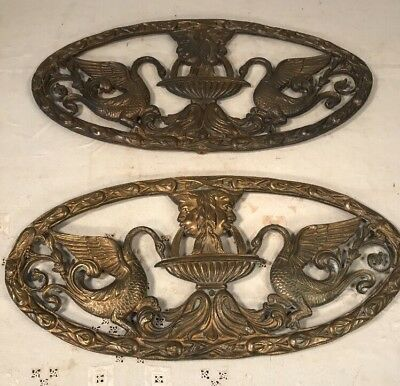 MCM Pair Of Large Figural Brass Medallions With Swans