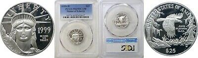 1999-W $25 1/4 Oz. Statue Of Liberty American Platinum Eagle PCGS PR69 DCAM