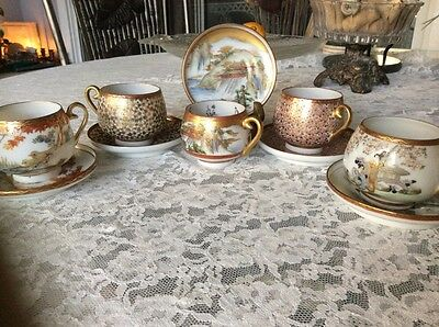 Satsuma Demitasse Cups Saucers Collection (5)