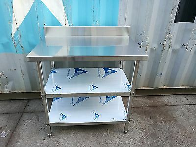 Brand New Stainless Steel 3 Level Bench with splash back 900 x 700 x 900