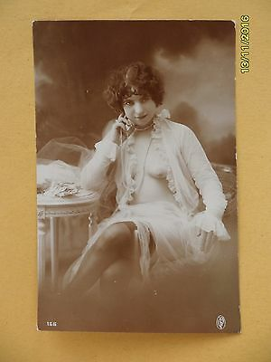 Original French 1910's-1920's Postcard Nude Risque Sexy Woman Stockings #132