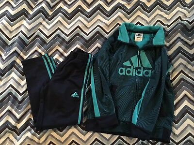 adidas kids tracksuit Size 7 Jacket And Pants Teal Navy Blue