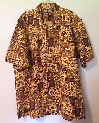 01d425eed Lee Brand Mens Yellow/brown Casual Tropical S/s Shirt Button Down Collar  Size