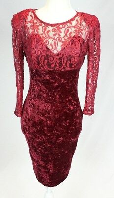 VTG Red Crushed Velvet Lace Dress Overlay Pencil Goth Grunge Mini 90s Stretch