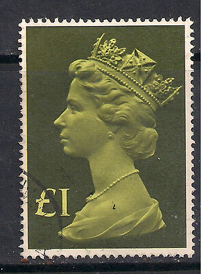 GB 1977 - 87 QE2 £1 Green Large Parcel used stamp SG 1026. ( F452 )