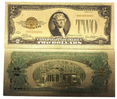 US 1928 $2 Gold Foil Banknote Golden Money Bill with Protective Sleeve