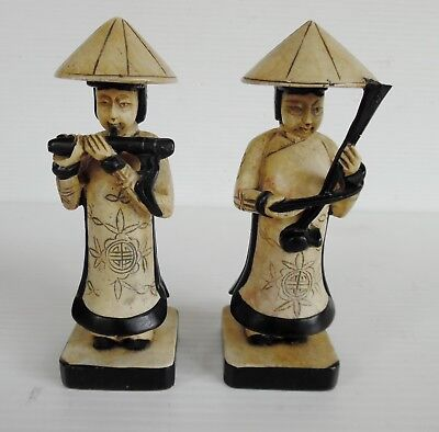 PAIR CHINESE MUSICIAN FIGURINES HIGHLY DETAILED 12  cm X 4 cm  x 4 cm