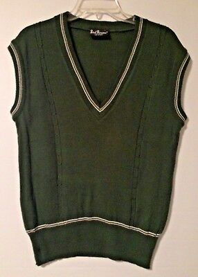 Bud Berma Vtg 70's Men's Acrylic Green Banded Bottom Sweater Casual Vest SZ M