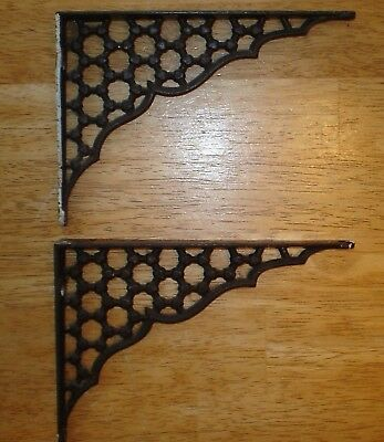 Pair Antique Ornate Victorian Cast Iron Book Shelf Brackets Old Vintage Hardware