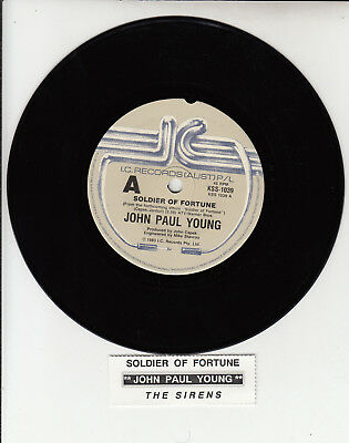 "JOHN PAUL YOUNG  Soldier Of Fortune  7"" 45 vinyl record + juke box title strip"