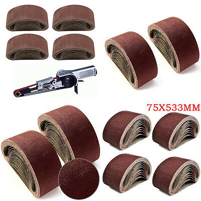 20x 75 X 533 mm Sanding Belts Mixed Grade Bosch Makita Sander 40 60 80 120 Grit