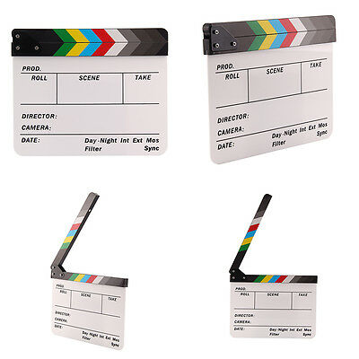 Acrylic Clap Clapperboard Film Clapper Board Scene Slate Movie Action 30x24CM