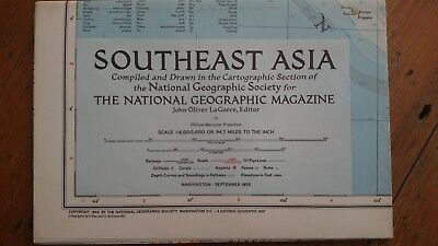 Vintage National Geographic 1955 Map of SouthEast Asia