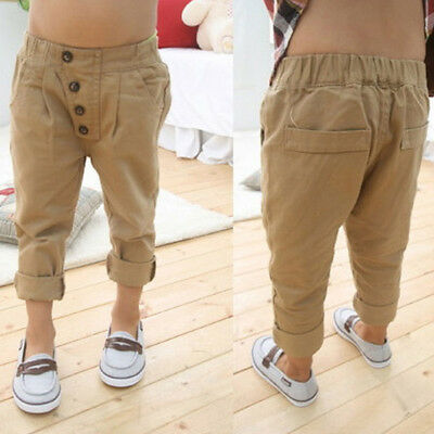 Toddler Infant Boys Soft Cotton Trousers Baby Kids Casual Khaki Harem Pants 2-7Y