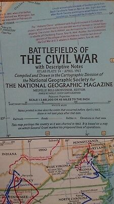 Vintage National Geographic 1961 Map of Battlefields of Civil War-Atlas Plate 14