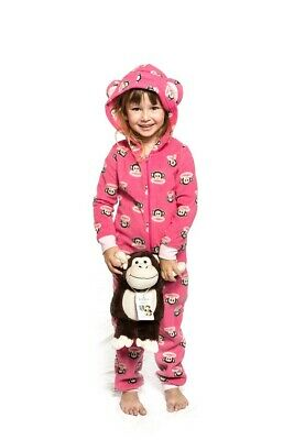Girls PJs Size 3-7 Licensed Winter Jumpsuit Pyjamas Fleece Pink Paul Frank