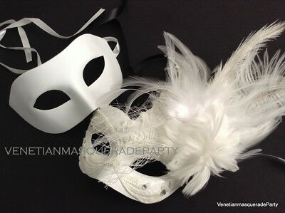 white lace masquerade ball mask couple bridal shower wedding birthday prom party