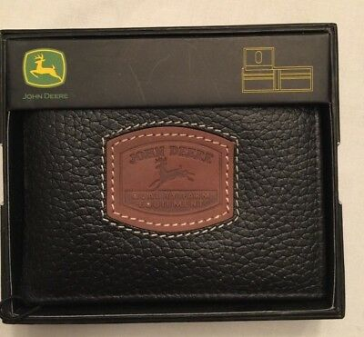 NWT Wallet Bi-Fold John Deere Black or Dark Brown Leather Passcase or Camouflage