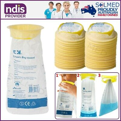 100 Sick Bags Vomit Bags Emesis Calibrated 1.5Ltr Infection Control Secure Tie