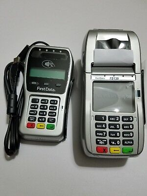 First Data FD130 Terminal with EMV and FD35 EMV Pin Pad with 500 Carltn Encrypt.