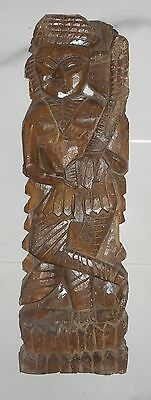 Vintage wooden sculpture hand carved made by native village craft man of India