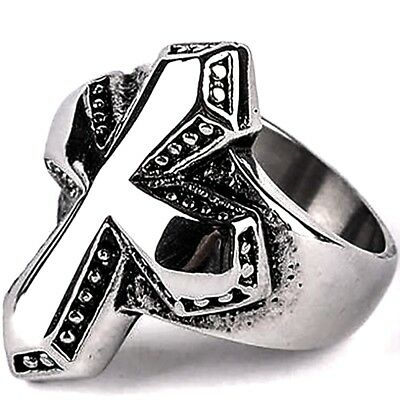 Silver Cross Ring Massive Knights Crusader Mens 316L Stainless Steel Sizes 7-12