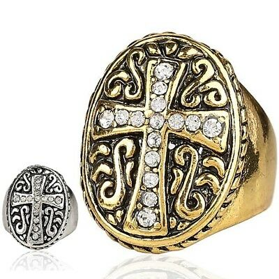 Crystal Cross Shield Ring Gold Silver Knight Mens Antique Vintage Sizes 7-10