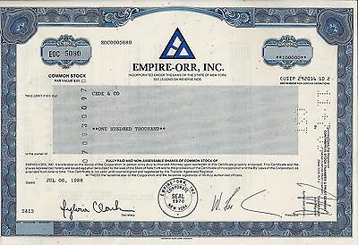 EMPIRE-ORR Inc., New York, 1988  (100.000 Shares ) !!