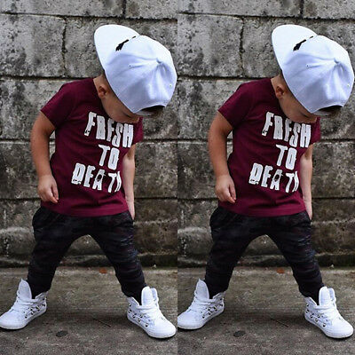 US Toddler Kids Baby Boy Clothes T shirt Tops Harem Pants 2PCS Outfits Sets 1-6T