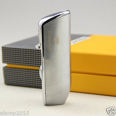 Cohiba Silver Metal Wind-Proof 3 Torch Jet Flame Cigar Cigarette Lighter W/Punch