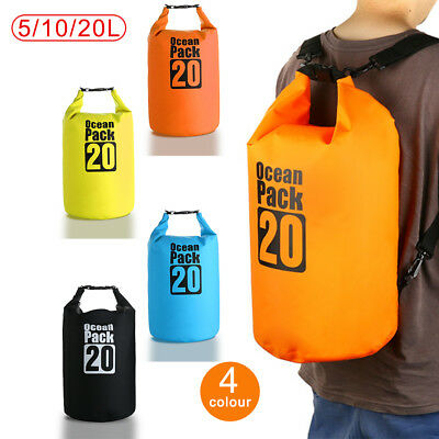 5L 10L 20L Dry Carry Bag Waterproof Storage Backpack Pouch Boat Kayak Camping