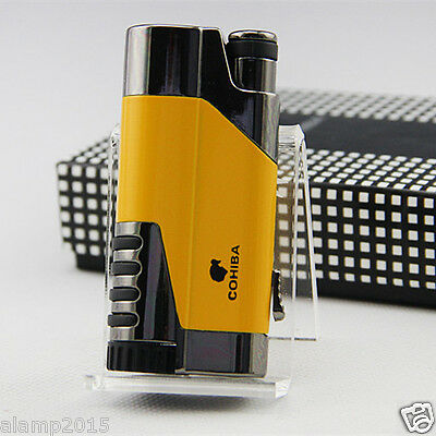 COHIBA Yellow Delica Metal 1 Torch Jet Flame Cigar Cigarette Lighter W/ Punch