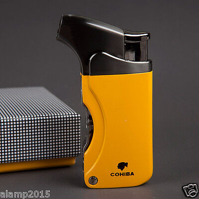 Cohiba Yellow Metal Wind-Proof 1 Torch Jet Flame Cigar Cigarette Lighter 2 Punch
