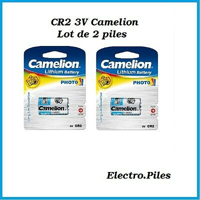 Set of 2 batteries/cells special photo CR2 3V lithium Camélion