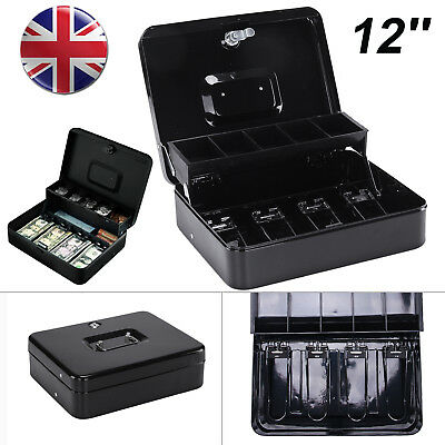 "12"" Petty Cash Box Black Gloss Security Money Safe Tray Holder Key Lock Lockable"
