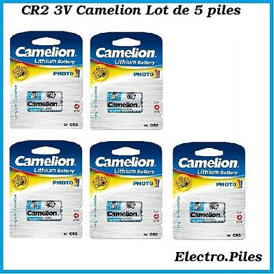 Lot of 5 batteries/cells special photo CR2 3V lithium Camélion