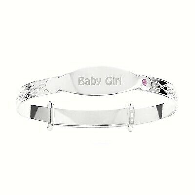 925 Solid Silver Christening Bracelet Baby Girl Bangle, Pink Stone CZ