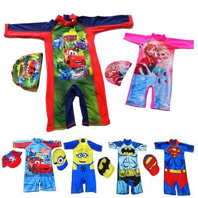 Boys Kids Swimwear Cap Girls Batman Mcqueen Spiderman Swimming Costume Swimsuit