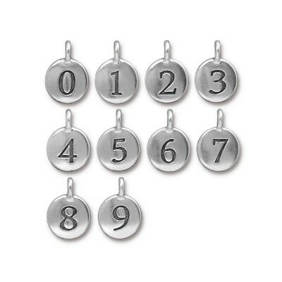 TierraCast Number Charm, Antique Silver Plated Lead Free Pewter (T902)
