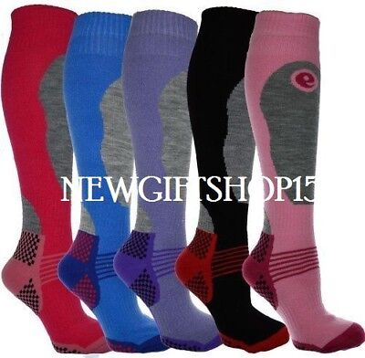 12 Pairs Ladies Thermal Padded Ski Socks High Performance Long Length Size 4 -7