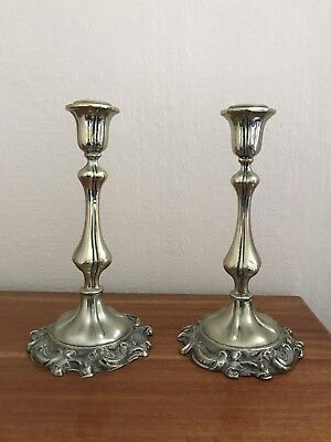 SMART pair, solid silver CANDLESTICKS, 1968