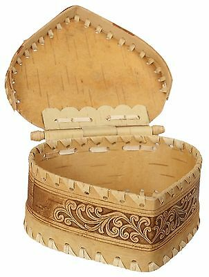 Heart Shaped Hinged Jewelry Box Birch Bark Natural Trinket Handmade Wood Wicker