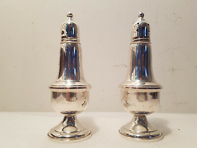 Vintage Empire Sterling Silver Weighted Salt & Pepper Plain Glass Inserts