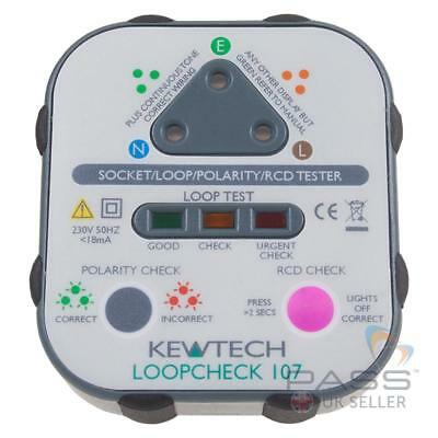Kewtech LoopCheck 107 Electrical Socket Tester with buzzer, RCD & Mains Polarity