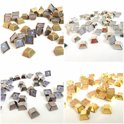 1000 Set of Hot Fix Iron on Pyramid Nail Head Square Bucket Studs Beads for Art