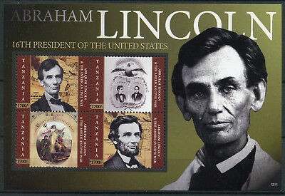 Tanzania 2012 MNH Abraham Lincoln American Civil War 4v M/S US Presidents Stamps